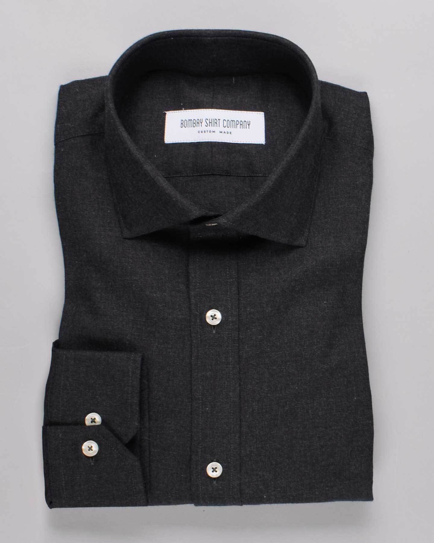 Ink Black Brushed Twill Shirt
