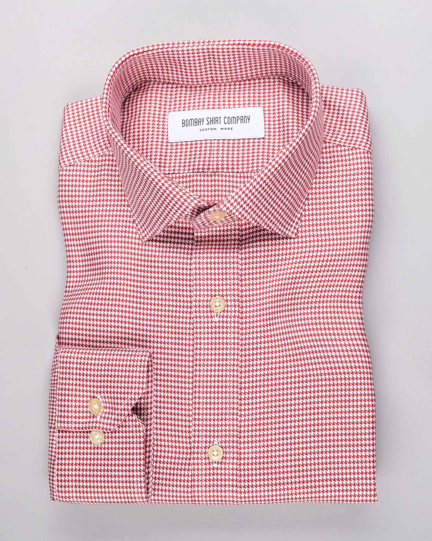 Wrinkle Resistant Super Red Houndstooth Shirt