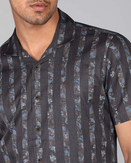 Paisley Cuban Collar Shirt