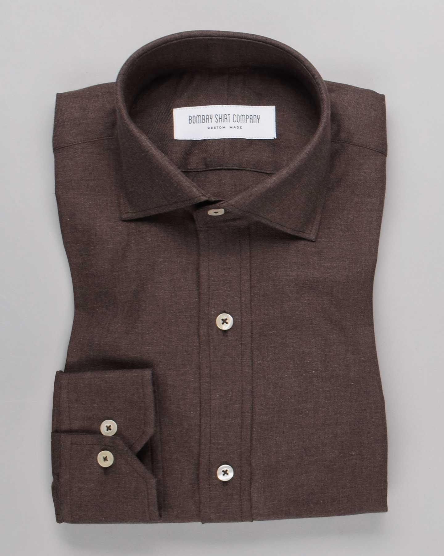 Mocha Brown Brushed Twill Shirt
