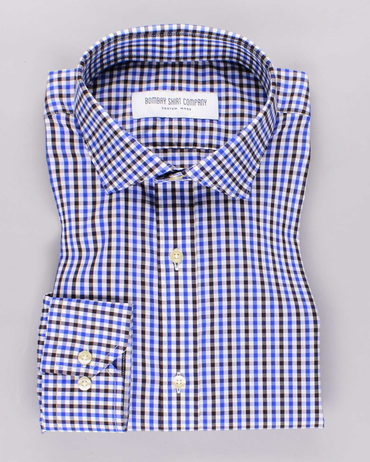 Luthai Charcoal and Indigo Checks Shirt