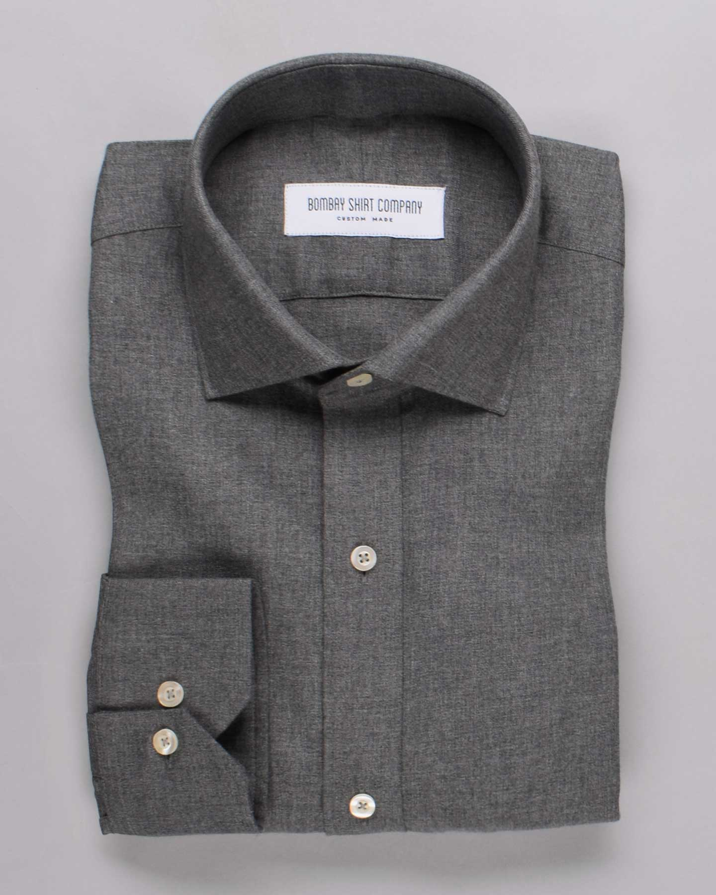 Charcoal Grey Brushed Twill Shirt