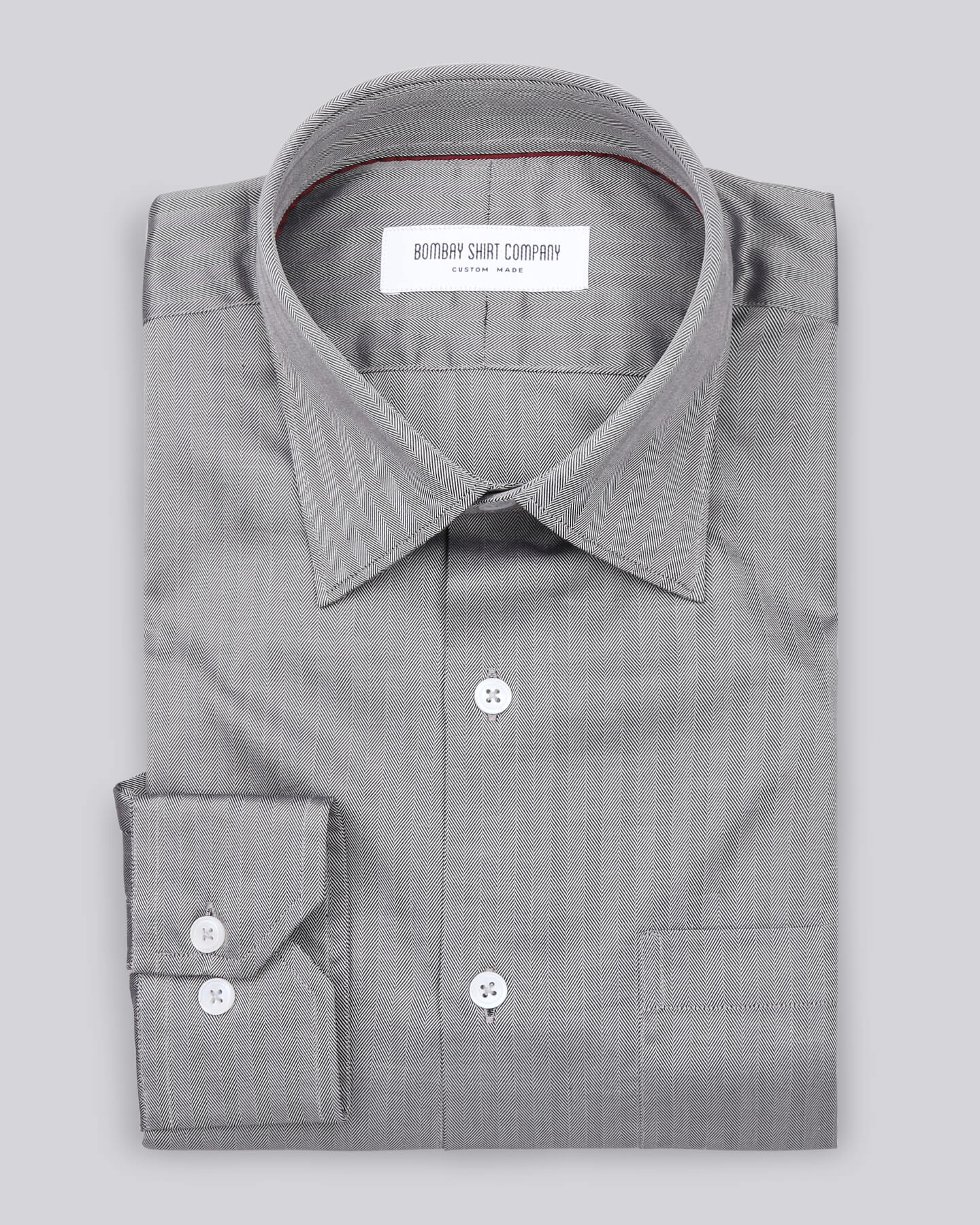 Mid Grey Herringbone Shirt