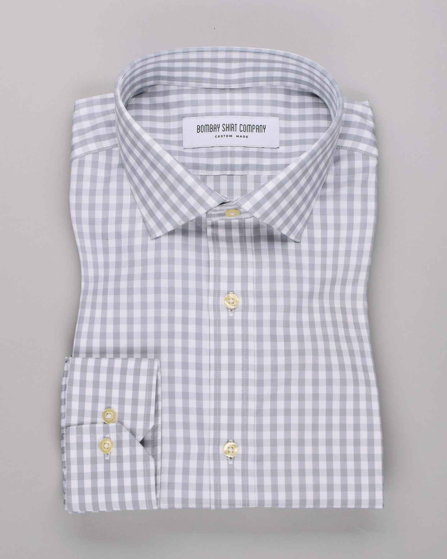 Wrinkle Resistant Grey Gingham Checks Shirt