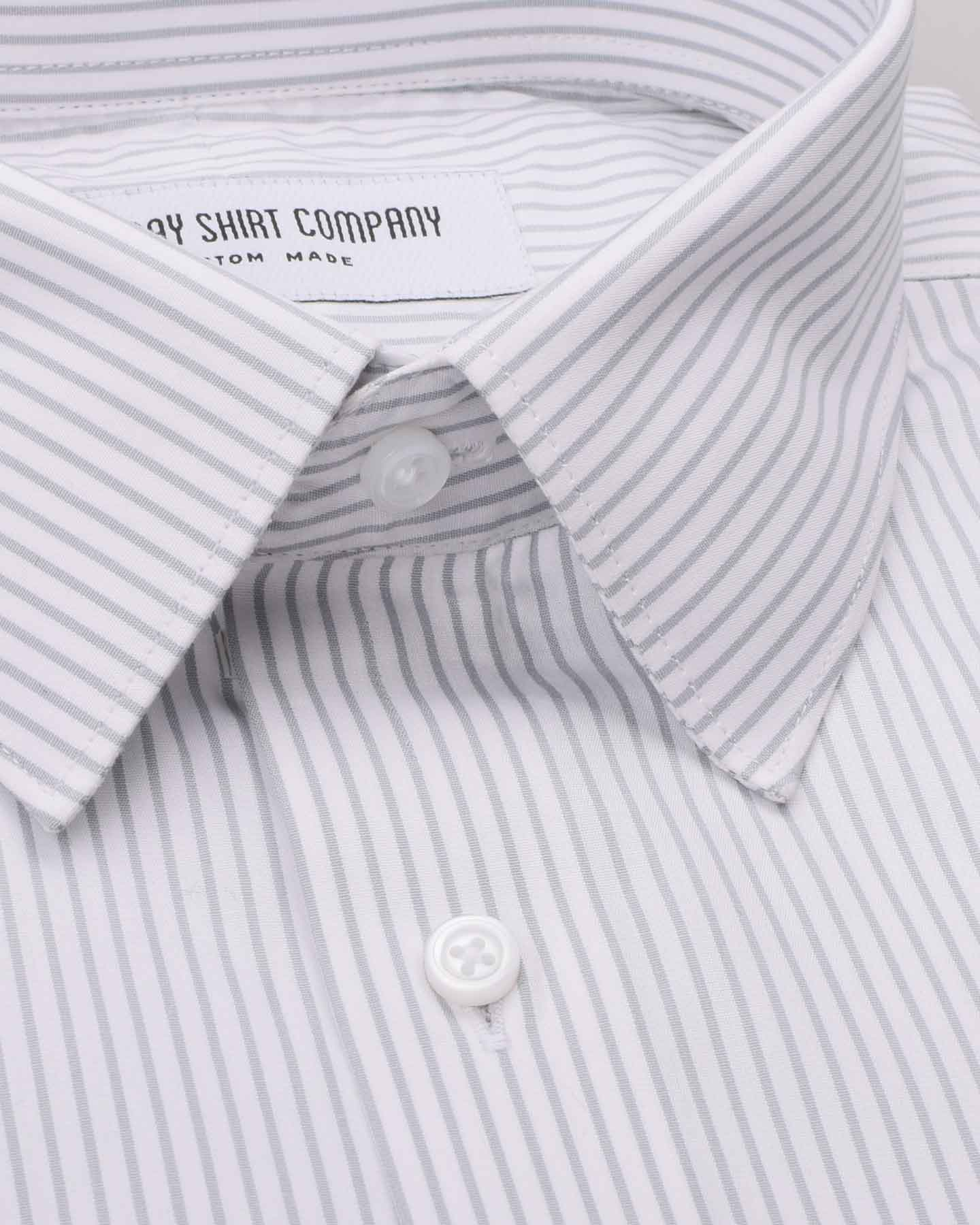 Wrinkle Resistant Silver Grey Stripes Shirt