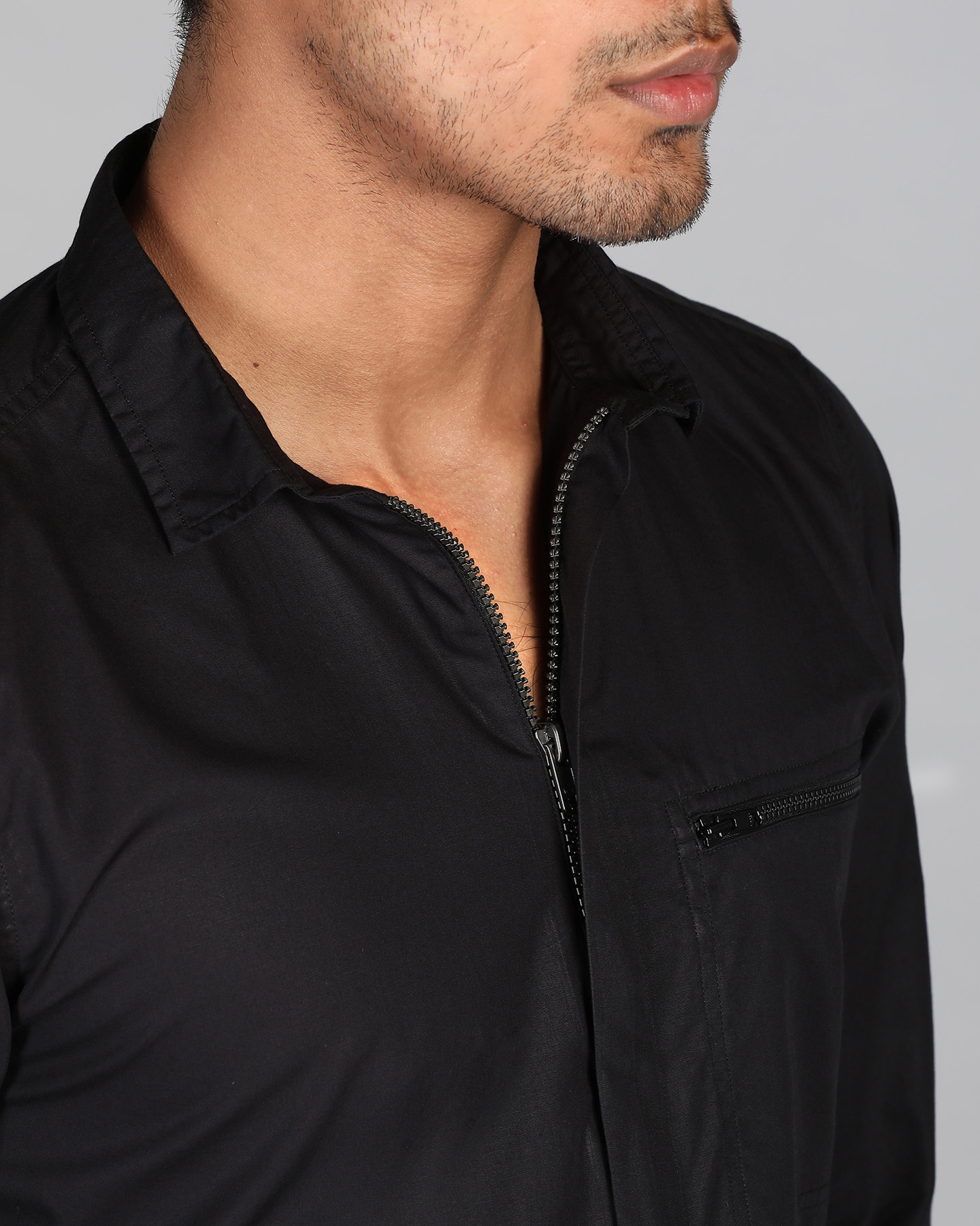 Onyx Black Zipper Shirt