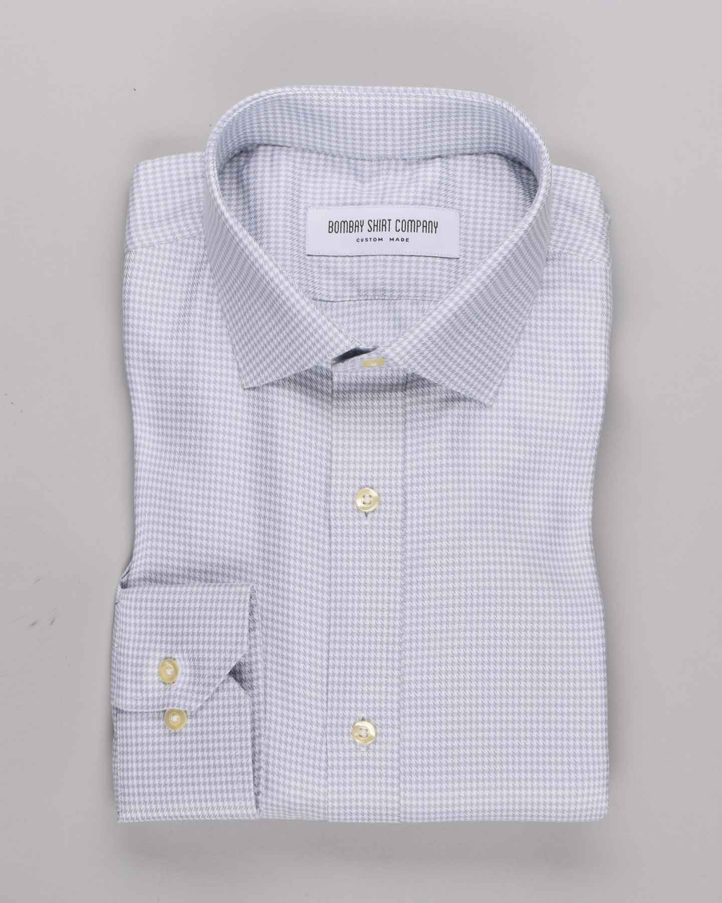 Wrinkle Resistant Super Grey Houndstooth Shirt