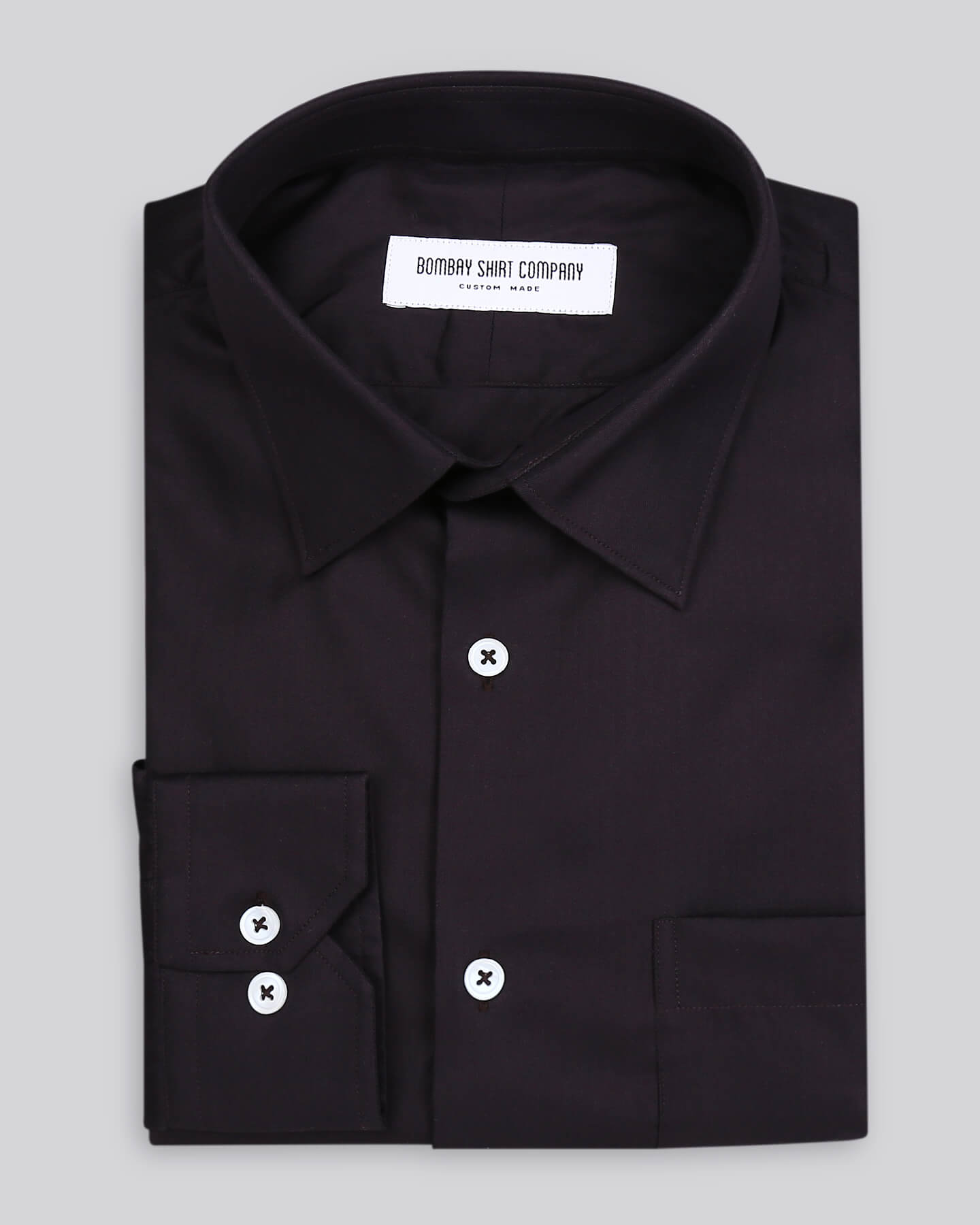 Wrinkle Resistant Dark Brown Herringbone Shirt