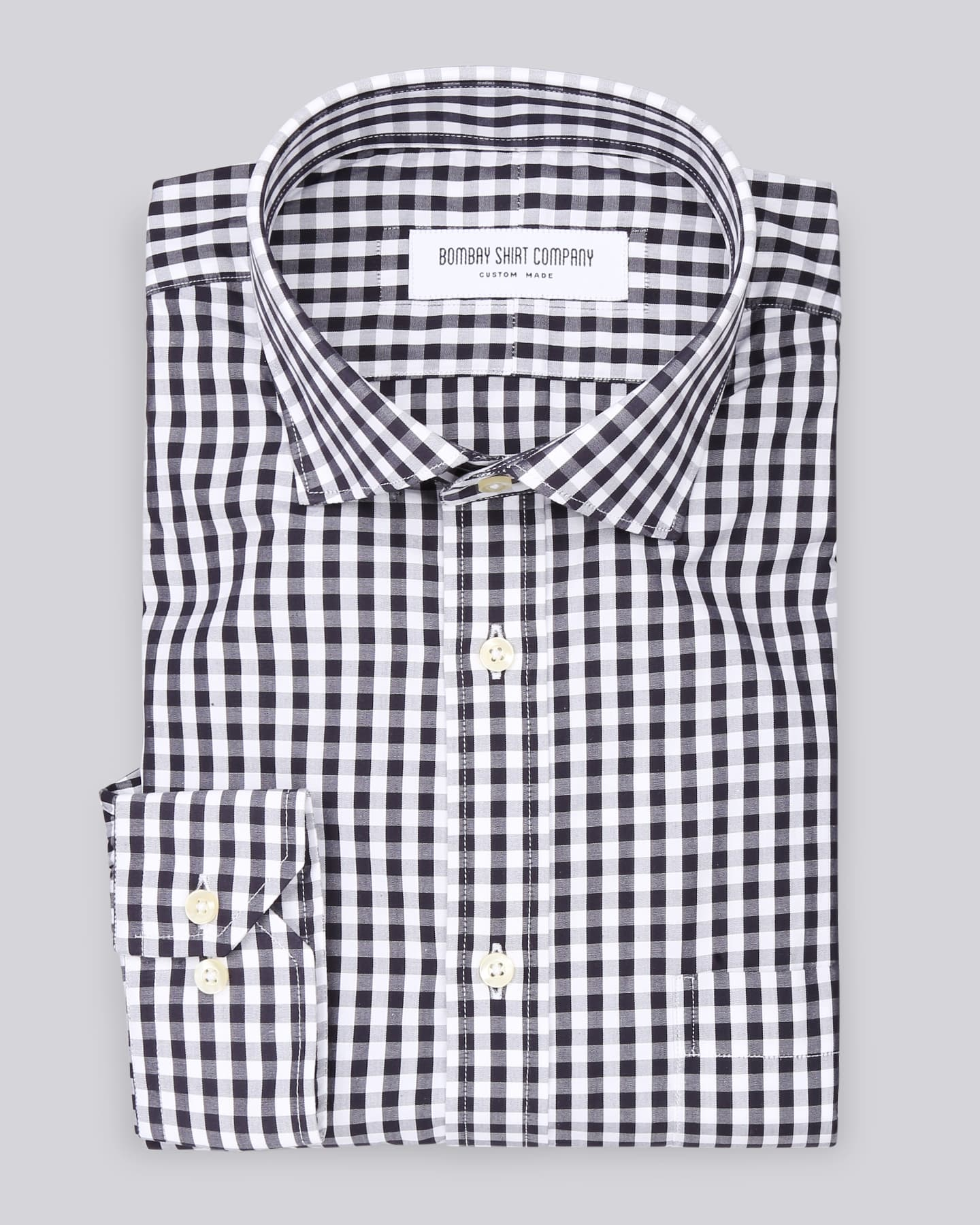 Wrinkle Resistant Black & White Gingham Checks Shirt