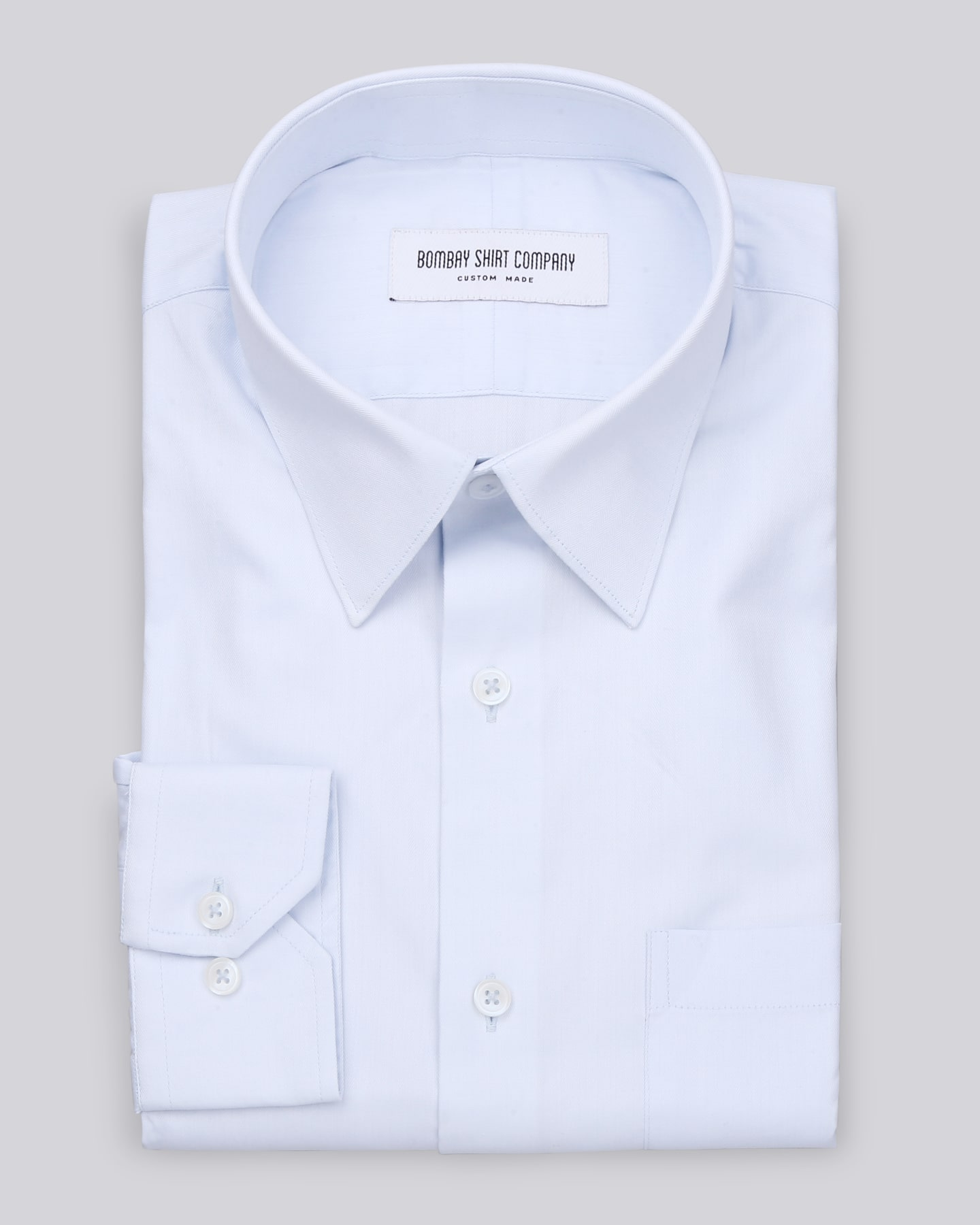 Wrinkle Resistant Light Blue Herringbone Shirt
