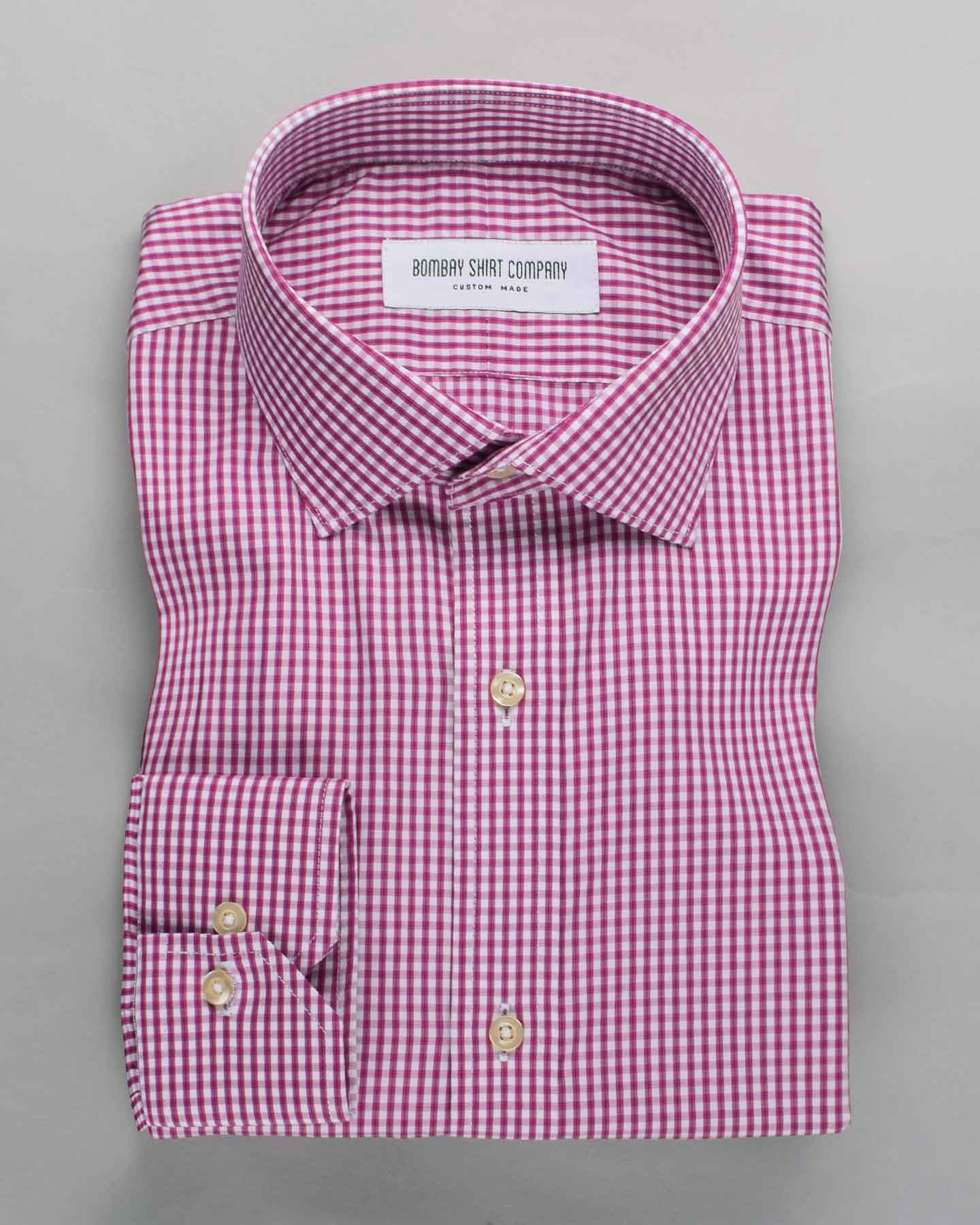 Wrinkle Resistant Raspberry Micro Checks Shirt