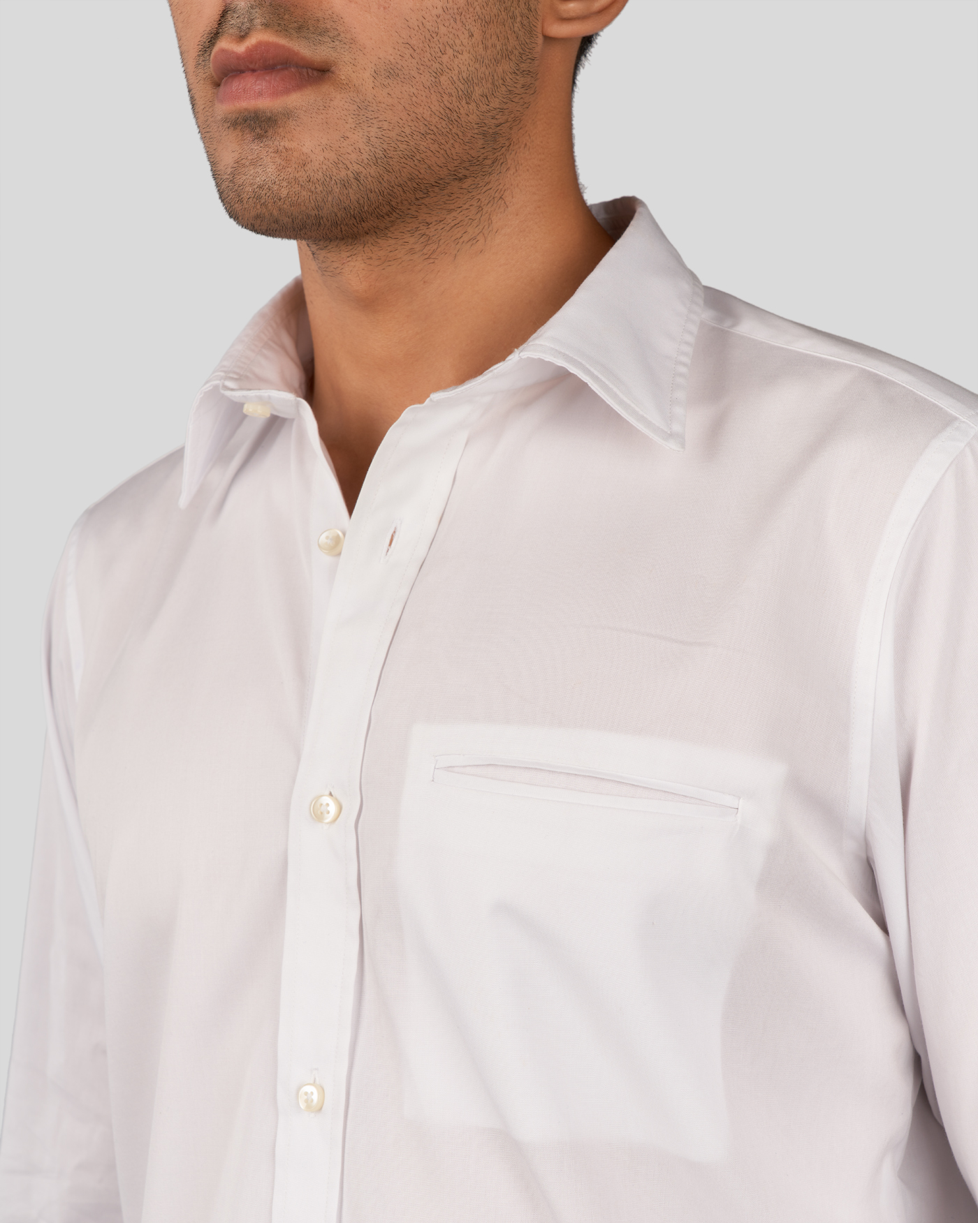 Feather White Welted Pocket Shirt
