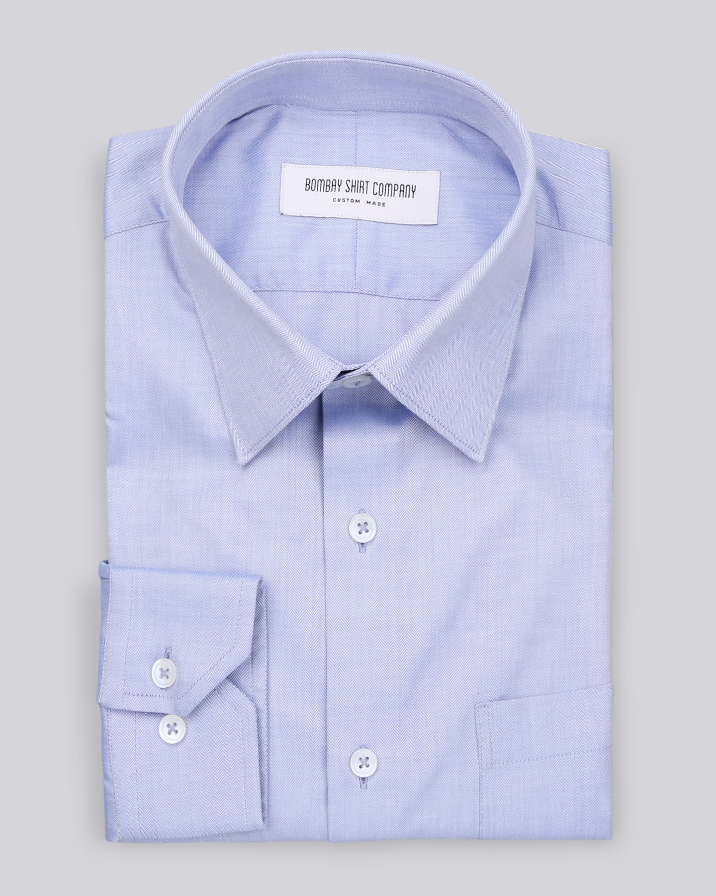 Wrinkle Resistant Premium Medium Blue Herringbone