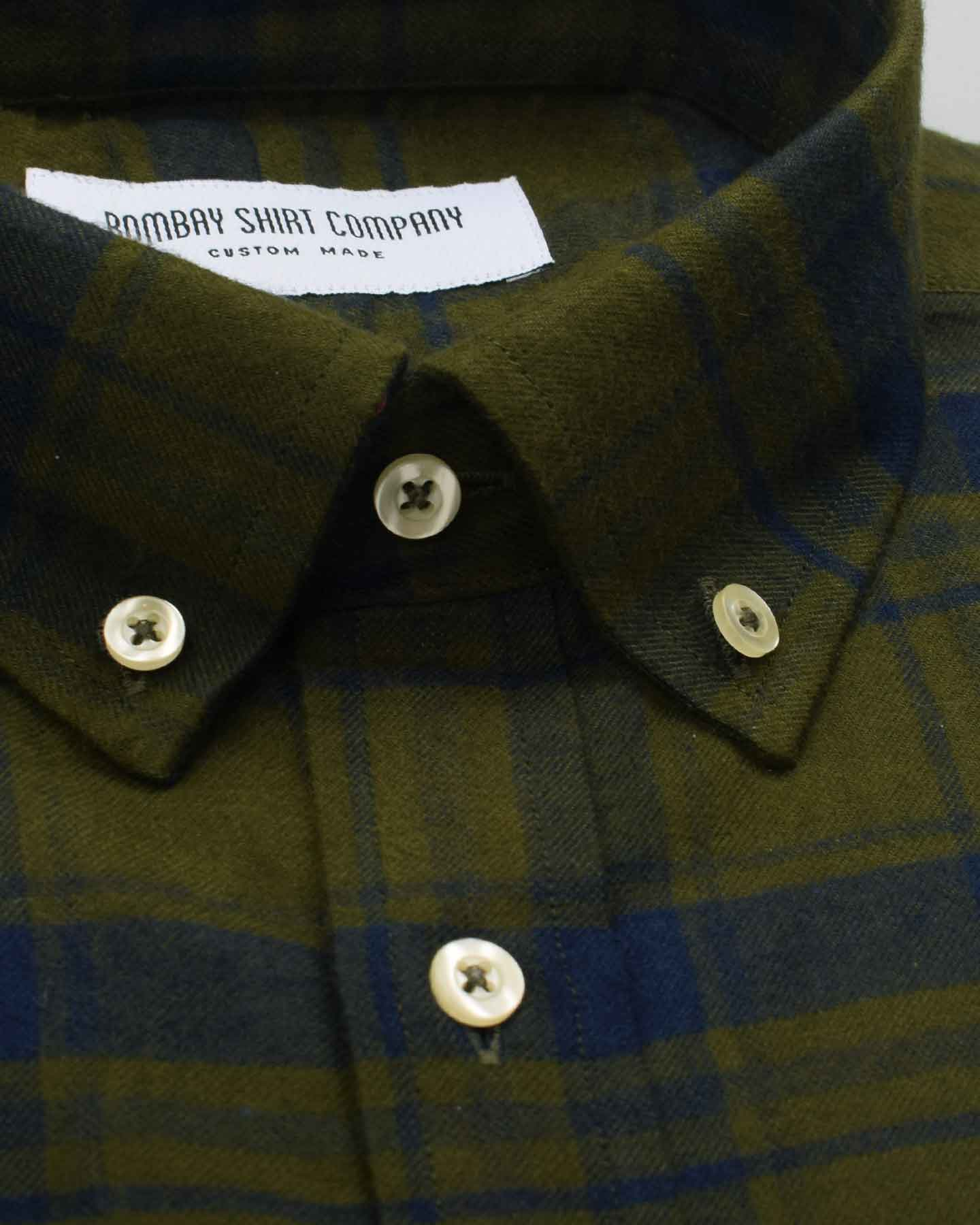 Olive Green Flannel Checks Shirt