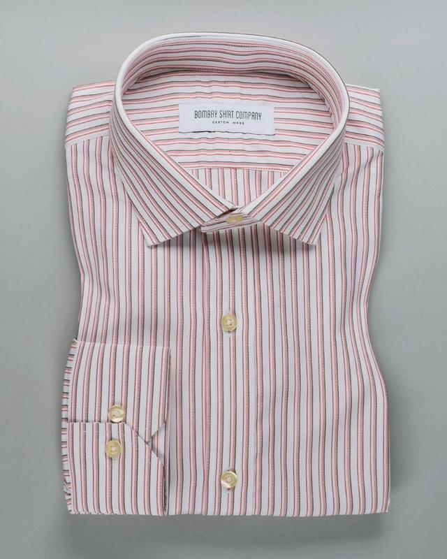 Wrinkle Resistant Crimson and Green Stripes Shirt