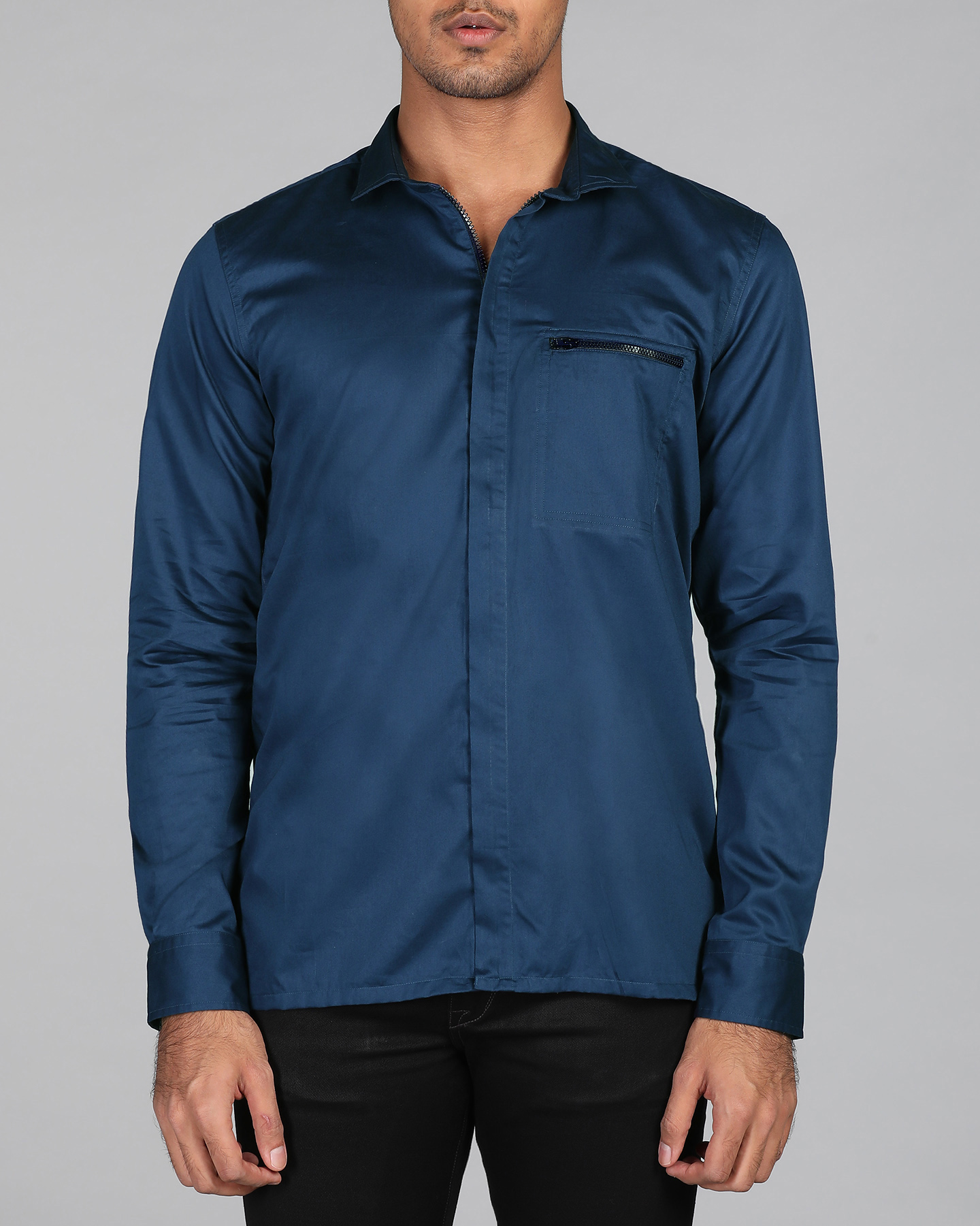 Midnight Blue Zipper Shirt