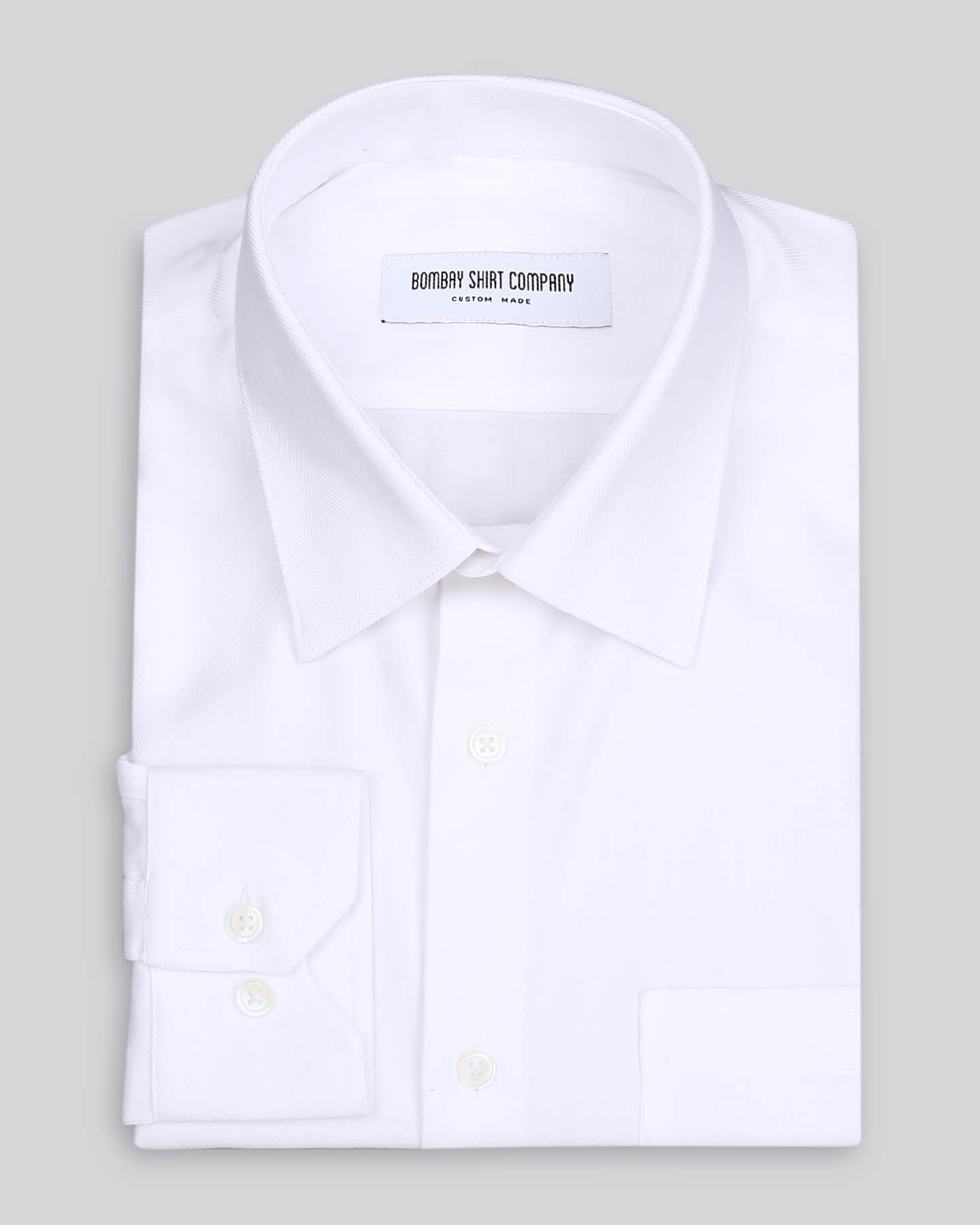 White Herringbone Shirt