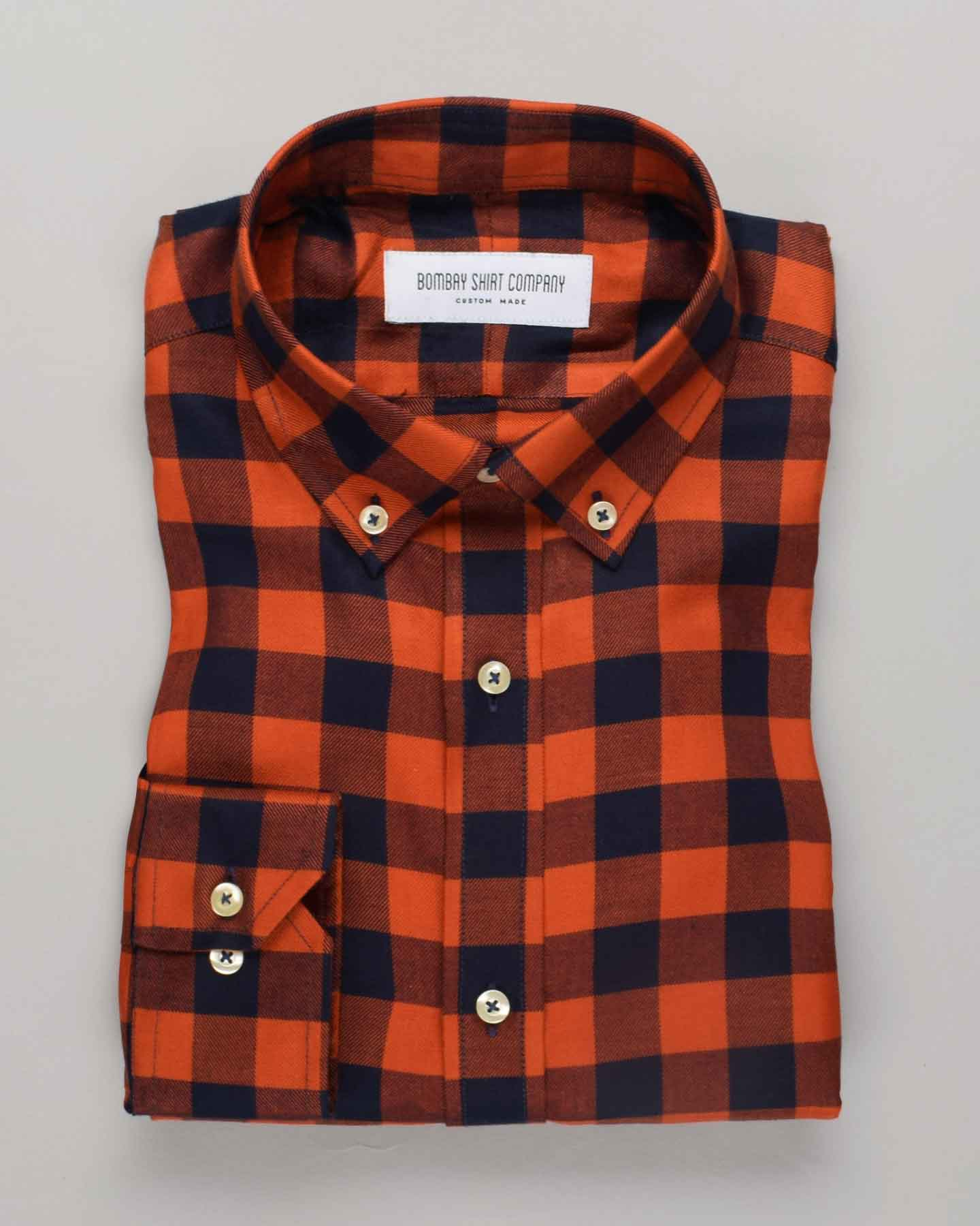 Rustic Orange Checks Shirt