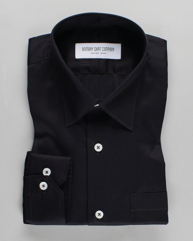Thomas Mason Black  Wrinkle Resistant Satin