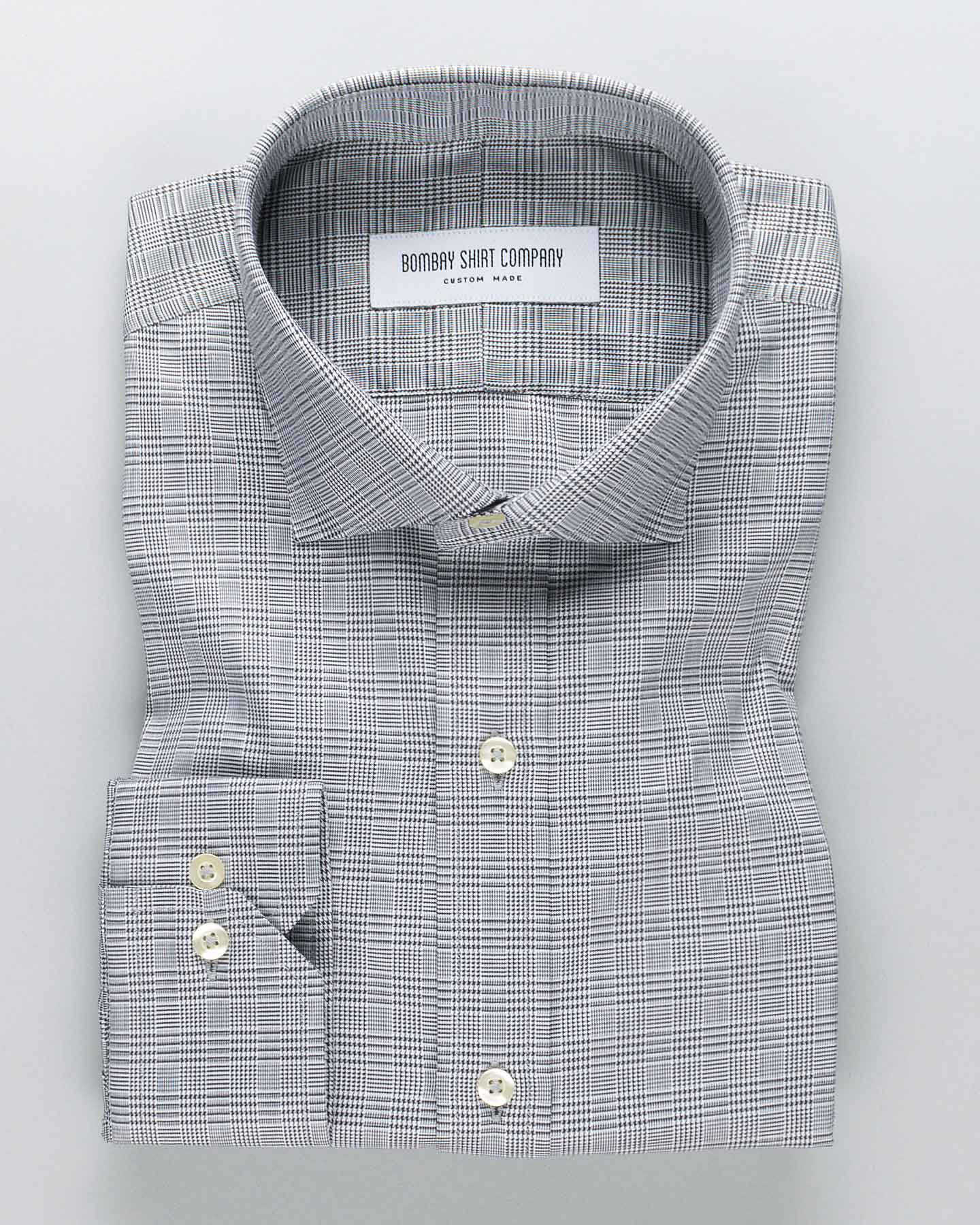 Black Glen Plaid Checks Shirt