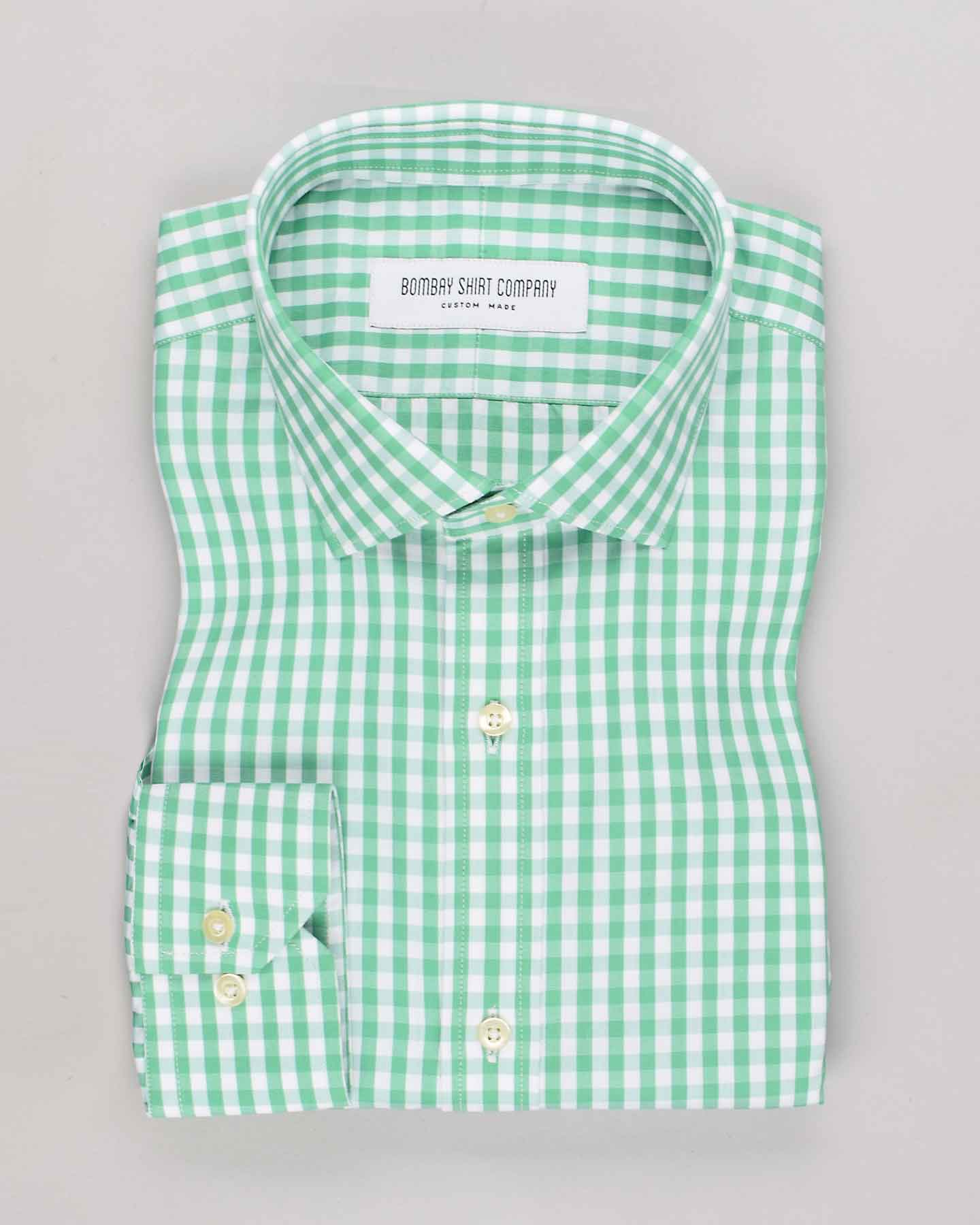 Wrinkle Resistant Green Gingham Checks Shirt