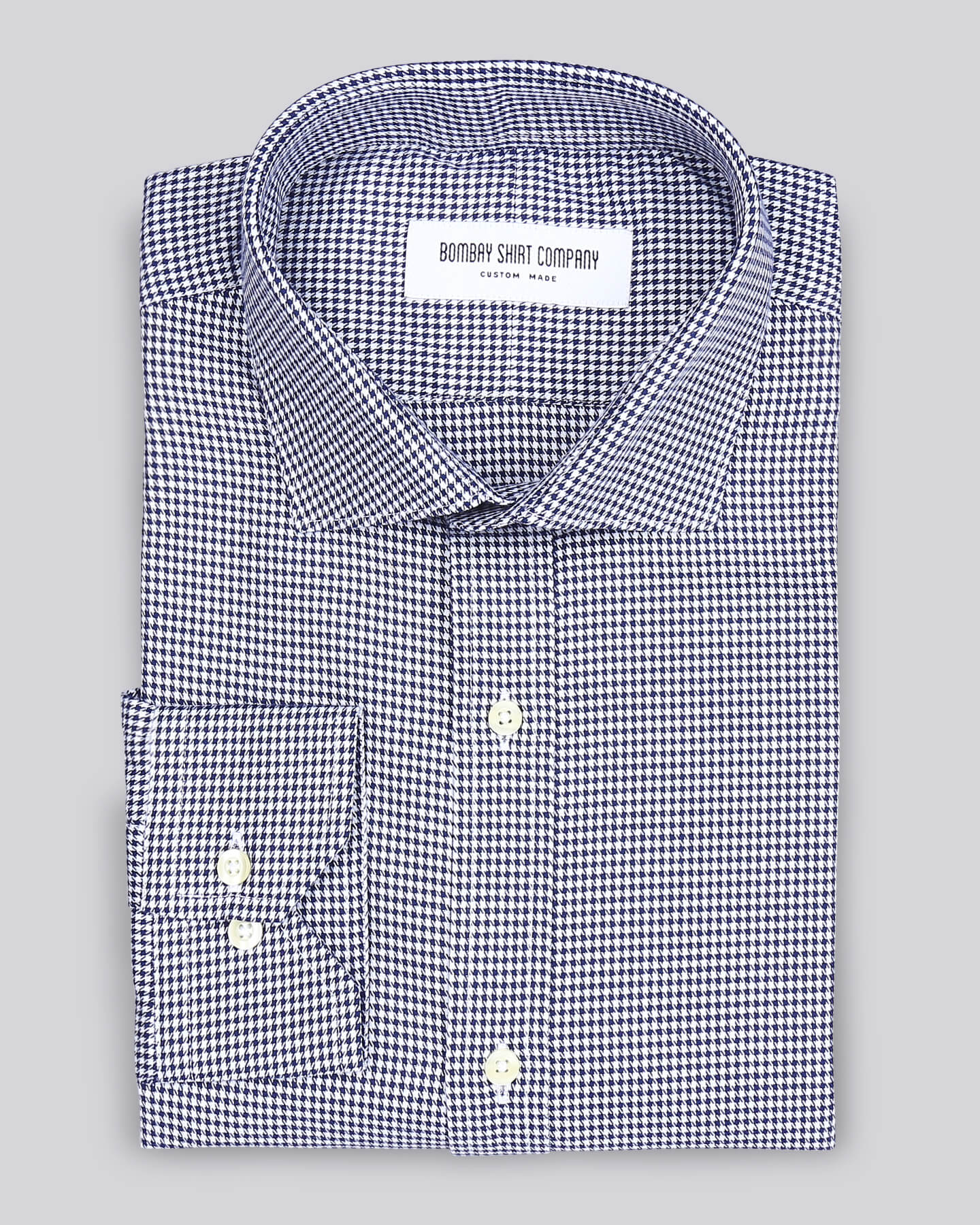 Navy Blue Houndstooth Shirt
