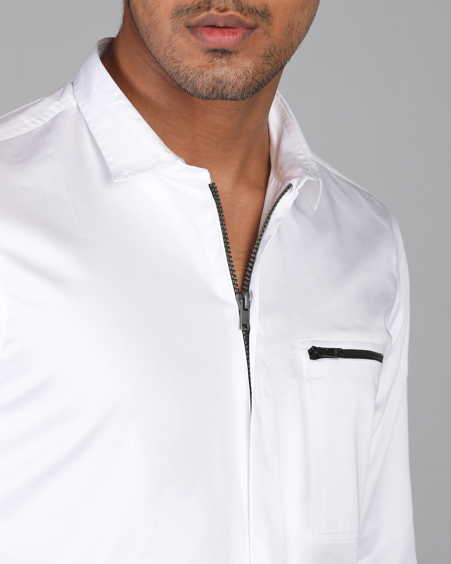 Pearl White Zipper Shirt